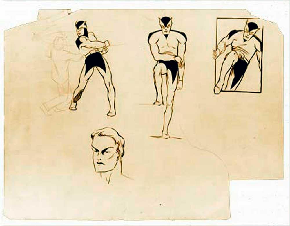 Batman, Frank Foster, first sketch Batman