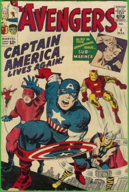 Avengers #4, Стів Роджерс, Капітан Америка, Месники